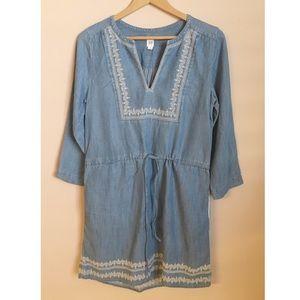Gap Chambray Embroidered Drawstring Dress